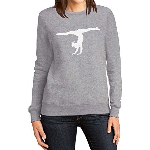 Damen Kunstturnerin Silhuette Fanartikel Geschenk Frauen Sweatshirt Small Grau