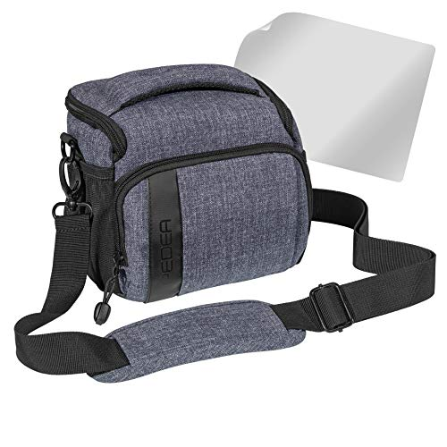 PEDEA SLR Fashion Kameratasche für Sony Alpha 7R, Alpha 7s, SLT-A57, SLT-A77V / Panasonic Lumix DMC-FZ72 / Olympus E-M5 OM-D (Größe L) grau mit Displayschutzfolie
