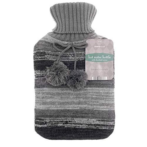 Große Wärmflasche aus Naturkautschuk, mit warmen Strickmuster, 2 l