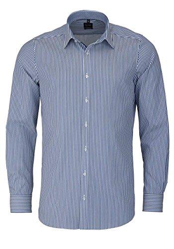 OLYMP Hemd Level Five Streifen blau / weiß extra langer 69cm Arm Dunkelblau