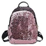 HCFKJ Schultasche, Mode Mädchen Pailletten Schultasche Rucksack Schulranzen Reise Umhängetasche (Pink)