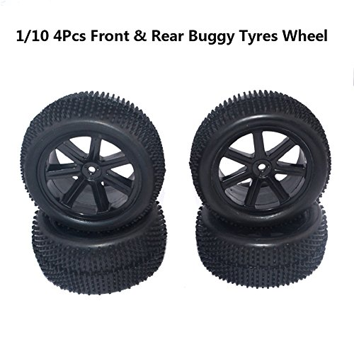 lennonsi RC 1:10 Felge Gummireifen Reifen für RC Car Off Road Buggy Schwarz Front Rear Wheel Rim Rubber Tyre Tires 12mm Hex