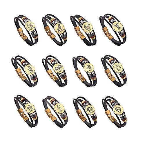 WooCo 12 Konstellationen Armband Modeschmuck Leder Armband Persönlichkeit Armband Sale