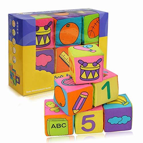 Daxoon Bunte Baby Blöcke,6 Stück Kleinkind-Baby-Tuch Weiche Rattle Bausteine Lernspielzeug,Pädagogisches Baby Badespielzeug Weich Blocks Set 3D Cube Cloth (Baby-blöcke)