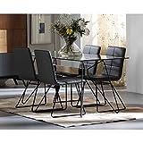 AMUEBLALO - Conjunto de comedor mesa cristal 160cm y 4 sillas Bea - GRIS ANTRACITA