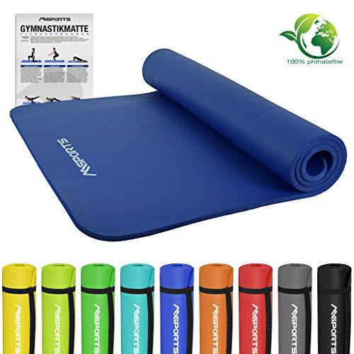 MSPORTS Gymnastikmatte Fitness | inkl. Übungsposter | 190 x 100 x 1,5 cm | Hautfreundlich -...