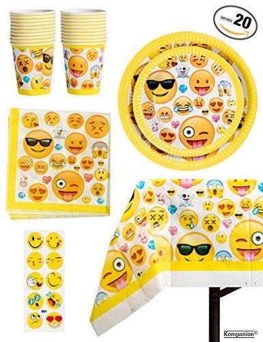 Kunststoff-tischdecke Große (81-teiliges Party-Set Emoji Kindergeburtstag Partydekoration - Pappteller, Tassen, Servietten, Tischdecke und BONUS Emoji Aufkleber, Geburtstagsfeier Zubehör für 20 Kinder)