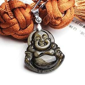 Ufingo Jewelry - Petits Obsidian Bouddha Maitreya Pendentifs, Pendentifs Amulet