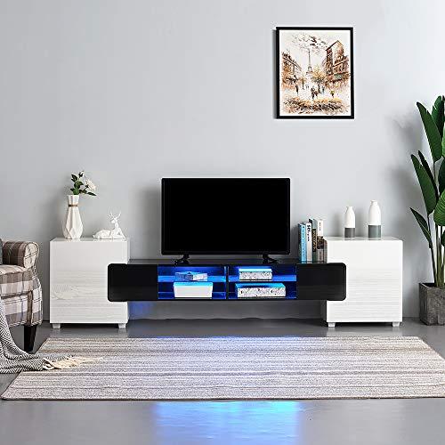 Ruication LED-TV-Schrank, modern, groß, 230 cm, Weiß matt Korpus, Hochglanz, TV-Ständer, RGB-Lichter, Sideboard, Aufbewahrungsschrank für Wohnzimmer, Schlafzimmer, Büro, 230 cm weiß/schwarz (Licht-holz-tv-ständer)