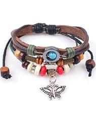 &ZHOU pulseras,pulsera retro, mariposa de madera colgante de la pulsera, pulsera de la manera moldeada hecha a mano de la pulsera, joyería, pulsera creativo, regalo creativo