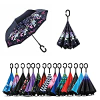 Jooayou Double Layer Inverted Umbrella, C Shape Handle Reverse Folding Umbrella, Anti-UV Windproof Travel Umbrella with Carrying Bag