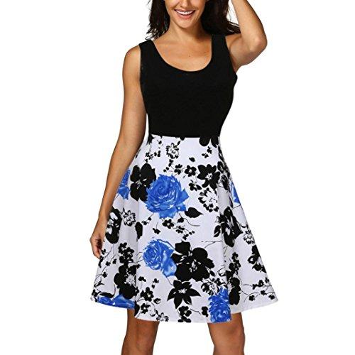 Jaysis Damen Vintage Scoop Neck Minikleid Armelloses A Linie Cocktail Party Tank Kleid Abendkleid (2XL, Schwarz) Linie Scoop Neck