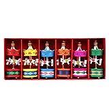 Jeteven 6 er Set Weihnachtsbaum Anhänger Mini Karussell Pferd Holz Basteln Weihnachten Neujahr Deko für Kinder Mädchen Holzanhänger Geburtstag Geschenk Rot Mehrfarbrig