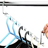 H&S 6pcs Wardrobe Clothes Wonder Hanger Hooks Organiser Magic Closet Clothing Organiser Hanging Hangers Metal (Pack of 6)