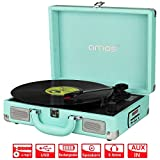 AMOS Retro Suitcase Briefcase Style Turntable 3 Speed Portable Record Player Vinyl to MP3 Converter with Rechargeable Battery Stereo Speakers FM Radio USB Port SD Card Slot AUX In RCA Out (Sky Blue)