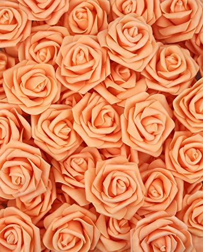 lightingsky 7cm DIY Real Touch 3D Kunstblumen Schaumstoff Rose Kopf ohne Stiel für Hochzeit Party Home Dekoration, Kaschmir, Orange, 100 Pieces -