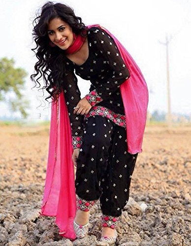 Cotton Party Wear Patiala Suit In Black and Pink Colour