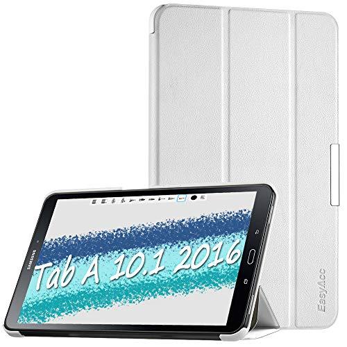 EasyAcc Cover Custodia per Samsung Galaxy Tab A 10.1, Ultra Sottile Smart Cover in Pelle con Sonno/Sveglia la Funzione Compatibile per Samsung Galaxy Tab A 10.1 (2016) SM-T580 / T585 - Bianco