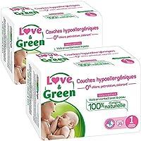 Love & Green – Pañales hipoalergénicos 0% para bebé,lote de 2x 23pañales (46Pañales), talla 1