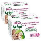 Love & Green - Couches Bébé Hypoallergéniques 0% -  Taille 1 (2-5 kg) - Lot de 2 x 23 couches (46 couches)