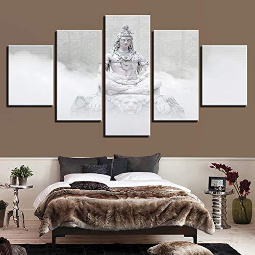 HIMFL Segeltuch Wandkunst Poster Wohnzimmer Zuhause Dekor 5 Panel Hindu-Götter Shiva Gemälde HD-Drucke Hinduismus Bilder,A,30×50×2+30×70×2+30×80×1