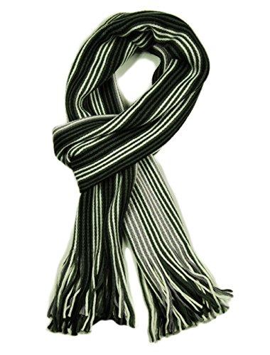 Écharpe de luxe pour homme Motif à rayures en tricot côtelé écharpes (plusieurs couleurs disponibles) Blanc - White / Grey / Lilac