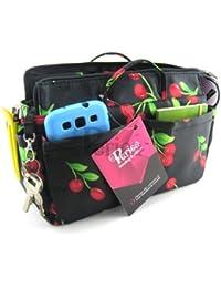 Periea - Organiseur de sac à main + mousqueton, 13 Compartiments - Ria (Noir avec des cerises rouges)