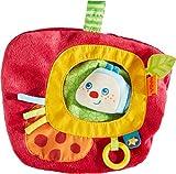 HABA 303191 – Spielkissen Raupe Mina, Kissen mit Raupen-Fingerpuppe für Babys ab 0 Monaten, farbenfrohes  Schnullertuch, mit Klettverschluss für Schnuller oder zum Befestigen an Laufstall