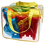 Beach Toy Set in Reusable Zippered Bag with Mesh Bag for Easy Clean and Store, Assorted Colors