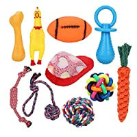 IBLUELOVER 10 Pack Cute Interactive Pets Dog Toys Set Durable Rope Squeaky Chew Training Toy for Small Medium Cat Puppy Solving Boredom Cleaning Teeth Non-toxic Rubber Exercise Ball for Dogs