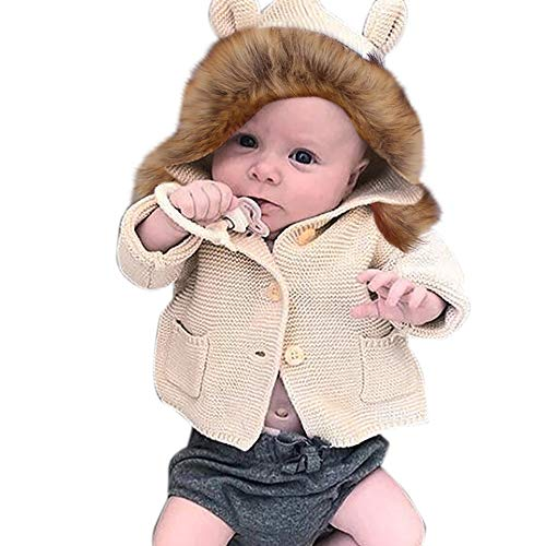 Feixiang cappotto neonato collo di pelliccia maglione lavorato a maglia cardigan giacche ragazzi ragazze cappotti caldo invernali bambino bambini felpe con cappuccio prima infanzia 6-24