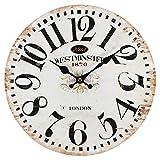 PD Perla Design, orologio da parete in vetro, movimento al quarzo, design vintage, motivo Westminster, circa 30 cm di diametro