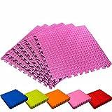 Schutzmatten Set von #DoYourFitness – 6x Puzzle Unterlegmatten für sicheren Bodenschutz für Sportgeräte, Gymnastikräume, Keller - Matten Schutz vor Kratzern, Stößen, Dellen, Kälte, Lärm, Flüssigkeit ! 6x Steckelemente á 60 x 60 x 1,2 cm (ca. 2,2m²) / In verschiedenen Farben erhältlich / Rosa