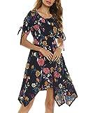 Beyove Chiffonkleid Damen Blumenmuster Sommerkleid Retro knielang Vintage Elegant Abendkleid Partykleid Cocktailkleid Ballkleid