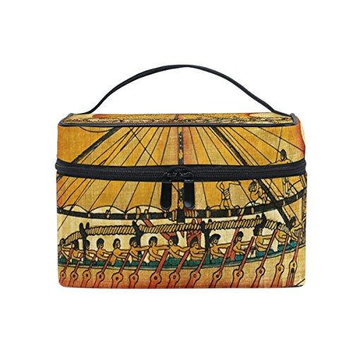 ALAZA Sac cosmétique antique Motif tribal égyptien Maquillage Vintage Voyage cas de stockage Organisateur