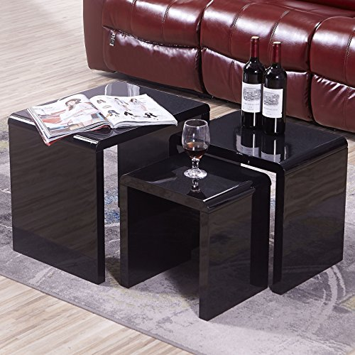 Uenjoy high gloss nest of coffee table side table living room black search furniture for High gloss black living room furniture