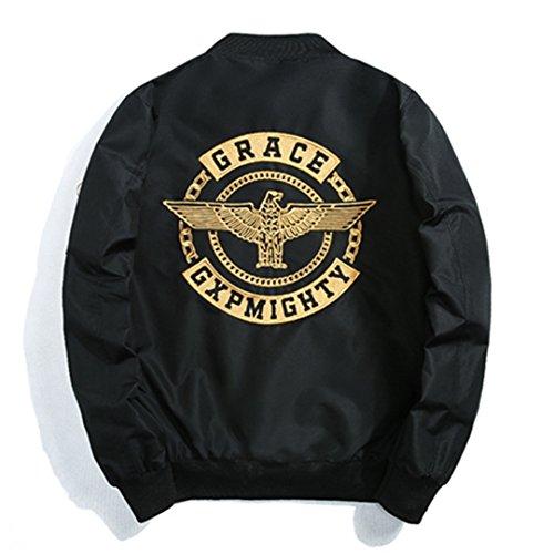 Aviator Jungen Jacke Leder (Jacket Men High Street legere Jacken Männer stehen Kragen Hip Hop Stickerei taktische Pilot Jacke Mantel schwarz XXL)