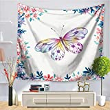 Baisheng Indian Mandala Wandbehang Tapisserie Hippie Wandteppiche Bettwäsche Tagesdecke, Picknick Strand Blatt, Tischdecke, dekorative Wandbehang (Blume butterfly4-59x78 Inch/150x200 cm)