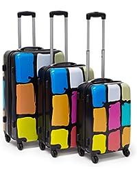 Relaxdays - Set 3 maletas con mango extendible de diferentes diseños. Ruedas 360°, Vol: 36/58/90 L