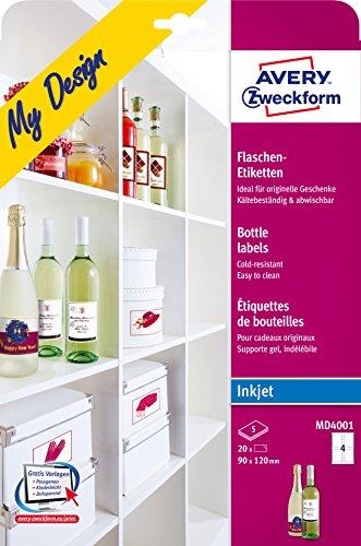 01 Flaschenetiketten (A4, 120 x 90 mm) 5 Blatt (Wasser-flasche-etikett)