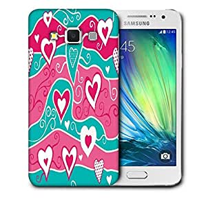 Snoogg Wavy Hearts Pattern Printed Protective Phone Back Case Cover For Samsung Galaxy A3
