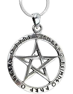 Anhänger Runen Pentagramm der 5 Elemente Keltischer 925er Silber Schmuck - Schutz - mit 1,2mm Schlangenkette 45...