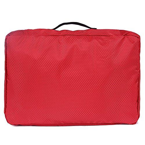 EGOGOKleidertaschenPackwürfel3-teiligesSetmit3Wäschebeutel-PremiumPackingCubesfürperfektorganisiertesReisegepäckE405-1 (Blau) Rot
