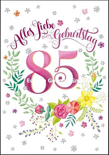 Glückwunschkarte zum 85. Geburtstag ~ mit Blumenmuster & Folienprägung