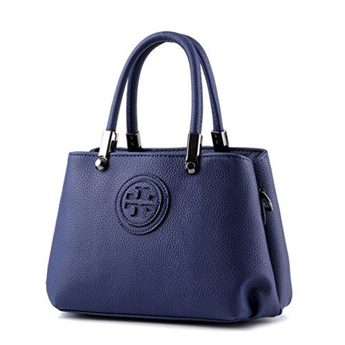 Auspicious beginning Borsa da cuoio in pelle di moda per le ragazze con il modello stampato blu reale