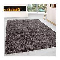 Shaggy Rug Long Pile Carpet Single Color Taupe - 200x200 cm round