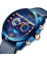 Relojes Hombre Relojes Grandes de Pulsera Militar Cronógrafo Impermeable  Deportivo Diseñador Reloj de Cuero Marrón Analógico a5564d7fab24