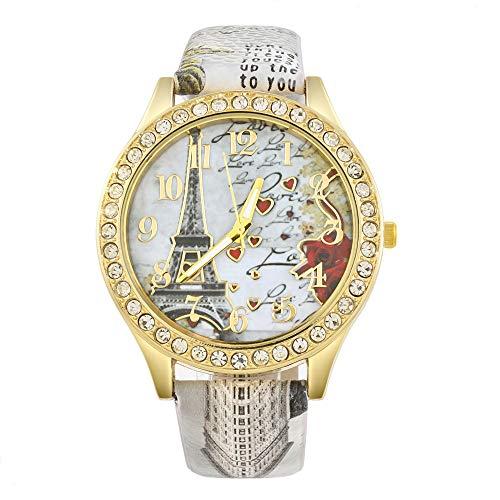 Souarts Damen Weiß Eiffelturm Strass Armbanduhr Quartz Analog mit Batterie (Weiß Eiffelturm#01)