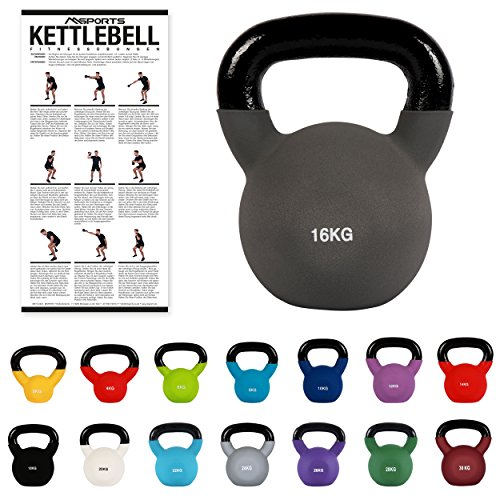 MSPORTS Kettlebell Neopren 2 - 30 kg inkl. Übungsposter (16 Kg - Anthrazit) Kugelhantel