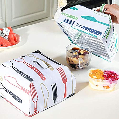 JN-STORE's Food Covers Keep Warm Vegetable Cover Reusable Aluminum Foil Cover Dishes Insulation Kitchen Food Cover Nets Anti Fly Mosquito (Small)
